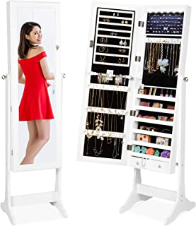 Best Choice Products 6-Tier Standing Mirror Lockable Storage Organizer Cabinet Armoire..