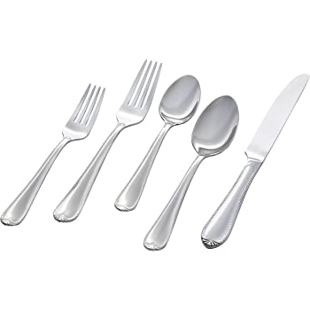 Amazon Brand – Stone & Beam Traditional Stainless Steel Flatware Silverware Set, Service for 4, 20-Piece, Silver with Royal Trim