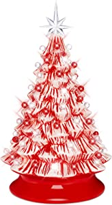 Best Choice Products 15in Pre-lit Ceramic Christmas Tree w/Cord, Hand-Painted Tabletop Indoor Holiday Decoration w/Light, Star Topper, Glossy Finish - Peppermint Candy Cane