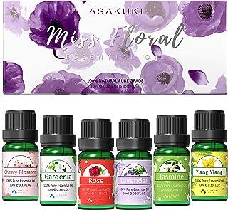 ASAKUKI Huile Essentielle Florale 6x10ml, Kit Huile Essentielle Aromathérapie pour Diffuseur(Ylang Ylang, Jasmin, Rose, Fl...