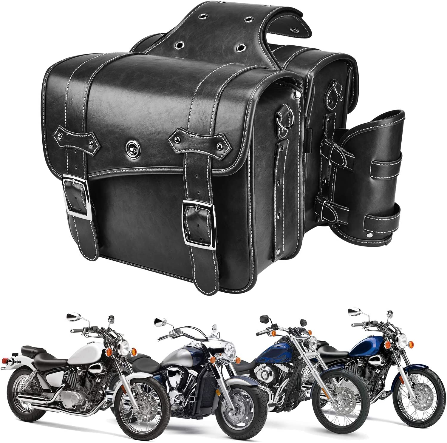 Leather Motorcycles Saddlebag Throw Over Saddle Bag with Cup Pocket for Sportster Softail Dyna Road King V-star Shadow, Vulcan, Black PU Material: Automotive