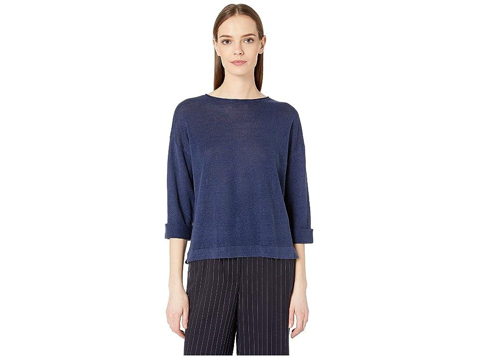 Eileen Fisher Round Neck 3/4 Sleeve Top (Indigo) Women