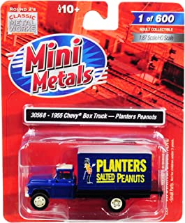 1955 Chevrolet Box Truck Planters Peanuts Dark Blue 1/87 (HO) Scale Model by Classic Metal Works 30568