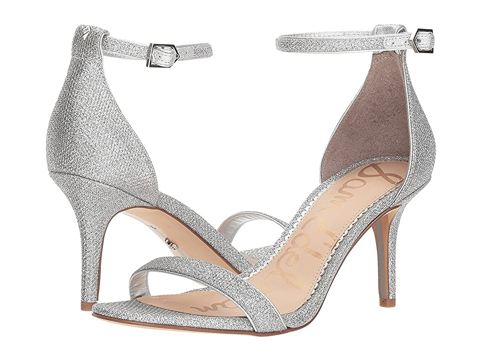Sam Edelman Patti Strappy Sandal Heel (Soft Silver Glam Mesh) High Heels