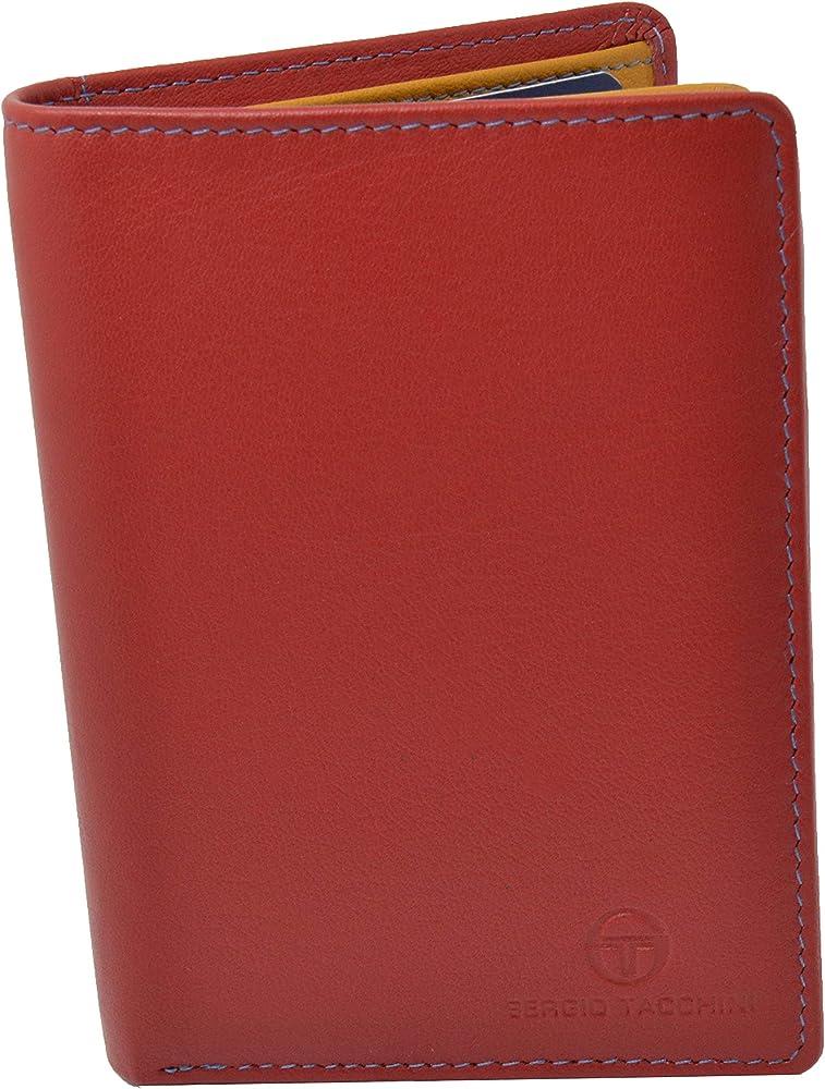 Sergio tacchini, portafoglio per uomo, in vera pelle,  interno multicolore , rosso verticale