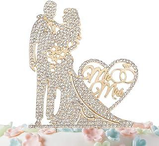 کیک Topper Rhinestone Crystal Metal عشق و کیک عروسی عروس خنده دار عروس و داماد کیک طلا طلایی