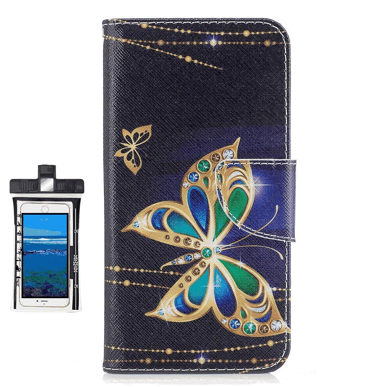 福祉多分起きてSamsung Galaxy ノート Note 9 レザー ケース, 手帳型 サムスン ギャラクシー ノート Note 9 本革 全面保護 ビジネス スマートフォンケース 財布 カバー収納 無料付スマホ防水ポーチIPX8 Holistic
