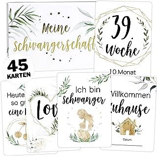 50 Baby Meilenstein Karten mit hochwertiger Filzhülle und Geschenkboxschöne