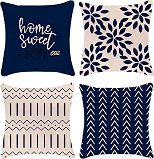 YCOLL Pillow Covers 18x18 Modern Sofa Throw Pillow Cover, Decorative Outdoor Linen Fabric Pillow Case for Chair Sofa Couch...