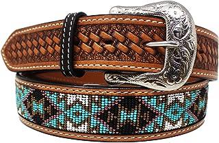 "45-46 Men's Women 1.5"" Western Tooled Floral Beaded Genuine Leather Belt 26RT08"
