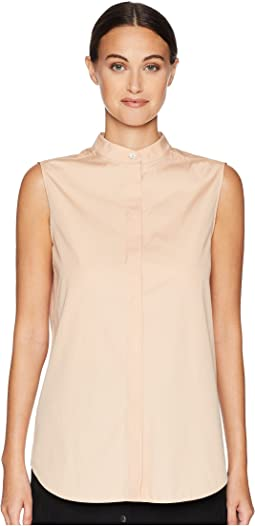 Sleeveless Shirt w/ Korean Neckline and Hidden Buttons