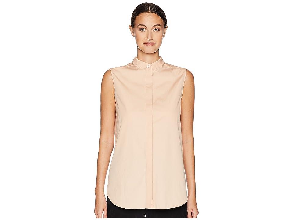 Jil Sander Navy Sleeveless Shirt w/ Korean Neckline and Hidden Buttons (Light/Pastel Pink) Women