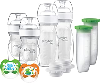 Playtex Baby Nurser Bottle Gift Set, with Pre-Sterilized Disposable Drop-Ins Liners and Silicone Pods, Closer to Breastfee...
