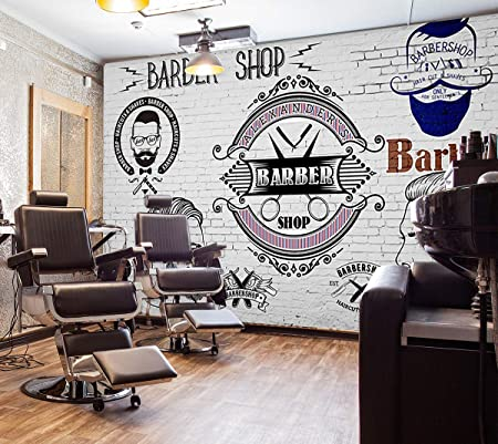 3D Barber Shop Self-adhesive Removable Wallpaper Murals Wall Sticker FC