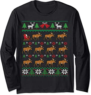 Moose Pulling Santa's Sleigh   Moose Lover Ugly Christmas Long Sleeve T-Shirt