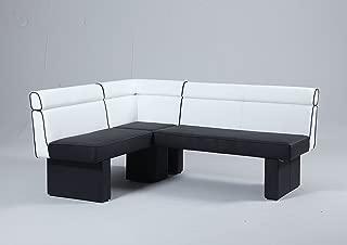 MILAN Nara Fully Upholstered Nook, Black & White, Black and White