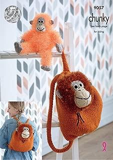 King Cole Tinsel Chunky Knitting Pattern Orangutan Backpack & Monkey Soft Toy (9057)