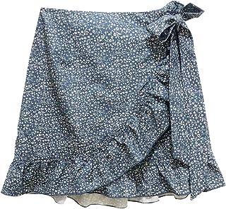 GAGA Womens Fashion High Waist Plaid Swing Ruffle Frill Mini Bodycon Skirt