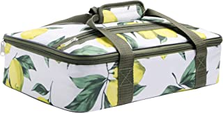 Palais Dinnerware Insulated Casserole Carrier - With Zip Closure - Attractive Design, with Strap and Side Pocket (Lemons and Leaves)