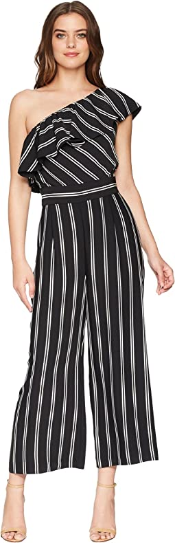 One Shoulder Stripe Jumpsuit with Pockets
