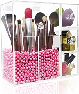 Makeup Brush Holder,Lumcrissy Acrylic Makeup Organizer with 2 Brush Holders and 3 Drawers Dustproof Box with Free Pink Pea...