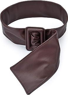 Ayli Women's Wide Waist Belt Solid Color Soft Synthetic Leather Cinch Belt