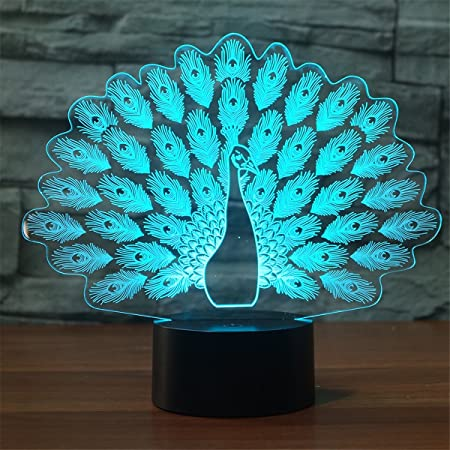 3D LED Night Light Peacock Touch Swift Table Desk Bed Lamp Christmas Kids Gift