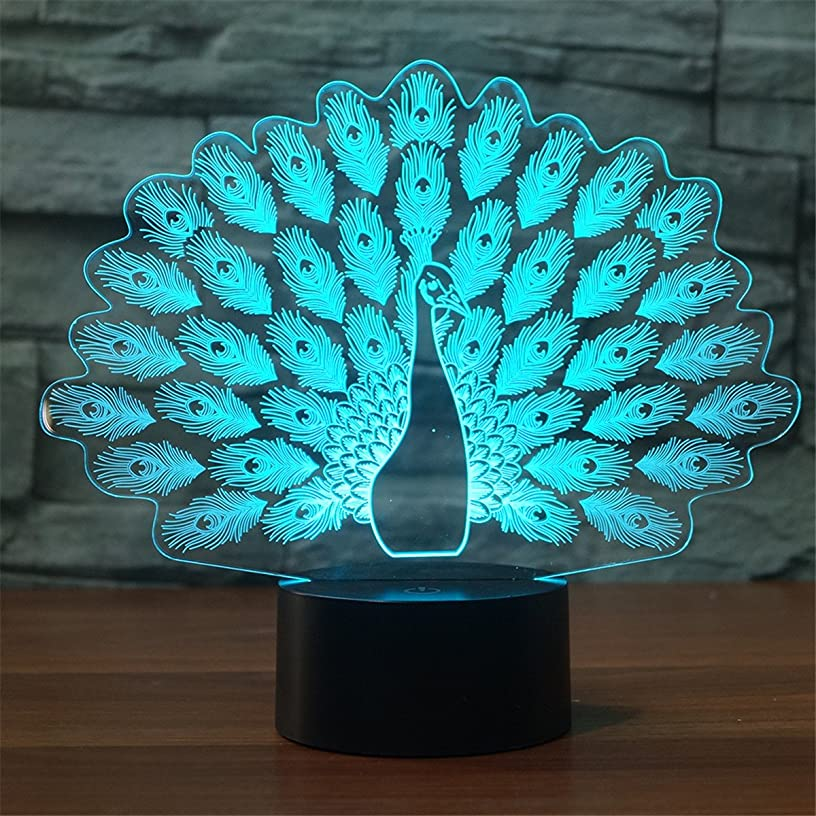 Novelty Peacock Shape 3D LED Night Light 7 Color Changing Animal Peafowl Table Lamp Home Decor Gifts Lampara Sleep Light Fixture
