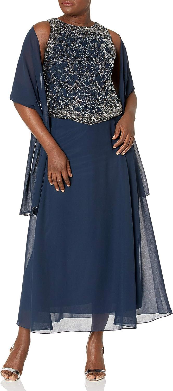 J Kara Women's Petite Sleeveless Mock 1-Piece Dress