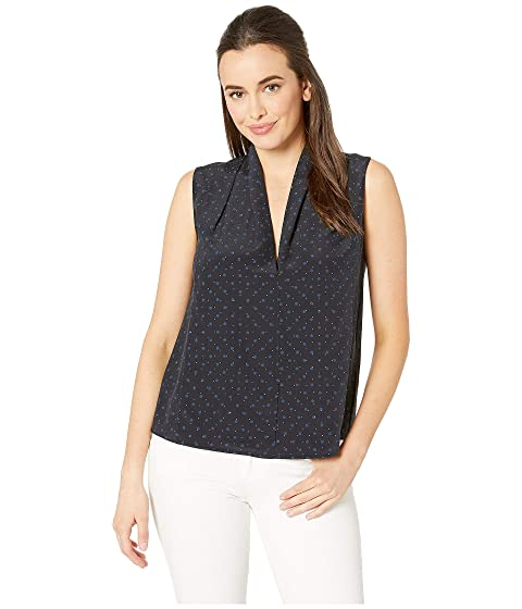 Vince Shadow Dot Sleeveless Drape Neck Blouse