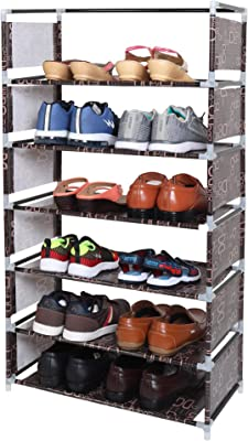 WowObjects 6 Layers Steel and Fabric Multi-Purpose Shoe Rack for Home (Brown)
