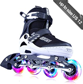 PAPAISON Adjustable Inline Skates for Kids and Adults with Full Light Up Wheels, Outdoor..