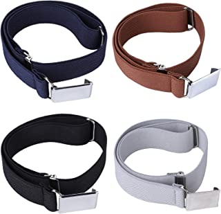 4PCS Kids Boys Elastic Buckle Belt - Adjustable Belt with Silver Square Buckle