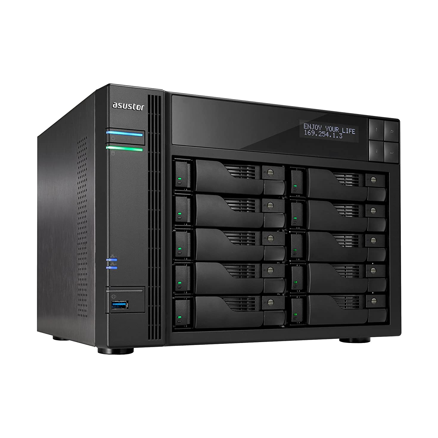 Asustor AS6210T | Network Attached Storage + Free exFAT License | 1.6GHz Quad-Core, 4GB RAM | Personal Private Cloud | Home or Business Data Media Server (10 Bay Diskless NAS)