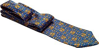 Gravata azul com desenho em flores laranjas