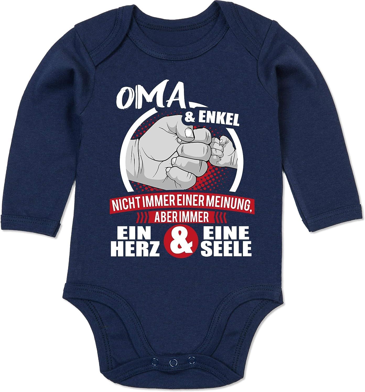 Partner-Look Familie Baby wei/ß//rot Baby Body Langarm Shirtracer Oma /& Enkel Immer EIN Herz /& eine Seele