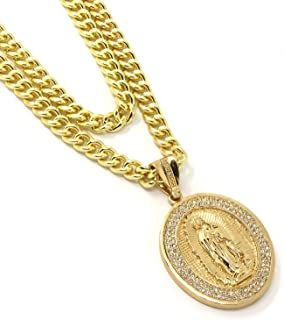 Jewel Town Mens Gold Plated Virgin Mary Pendant Hip Hop 30