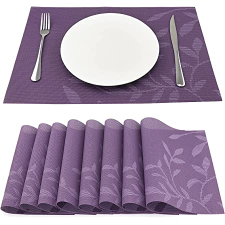 SueH Design Lot de 8 Sets de Table 45 * 30 CM Vinyle Tissé Violet
