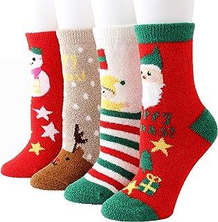 Yutdeng, Calcetines de Invierno Calientes de Piso Lindos de Navidad para Mujer Vellón de Coral Abrigados 4 pares Térmicos de Invierno Calcetines de Lana Super Calor Gruesa Calentar Suave Cómodo