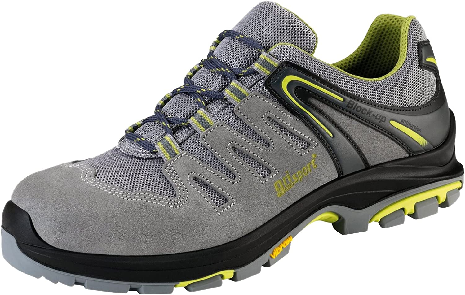greyport 73653CS25 45 Safety low shoes  Misano  S1P SRC, Size 10.5, Grey Yellow - EN safety certified