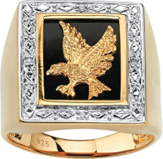Men's 14K Yellow Gold over Sterling Silver Genuine Diamond Accent Black Natural Onyx Eagle Ring