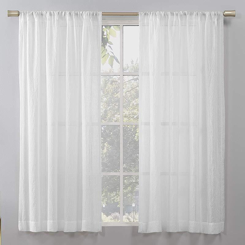 No 918 Genevieve 2 Pack Linen Weave Semi Sheer Rod Pocket Curtain Panel Pair 50 X 63 White