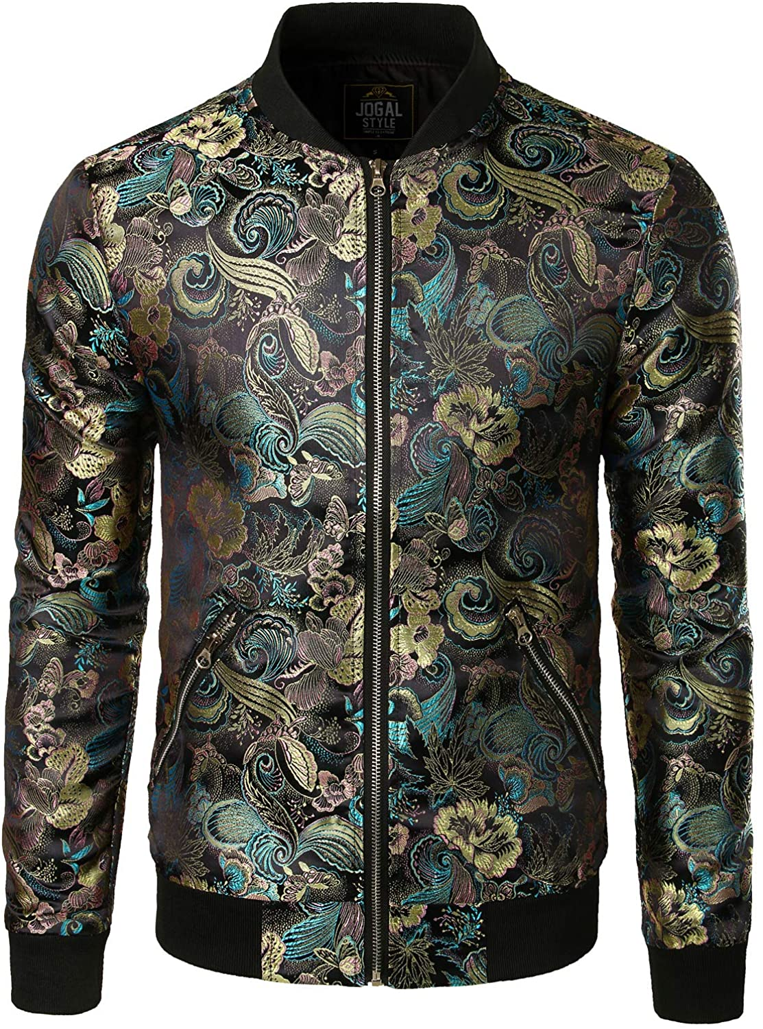 Finally resale start JOGAL Men's Luxury Paisley Super sale period limited Floral Satin Bomber Embroidered Jacke
