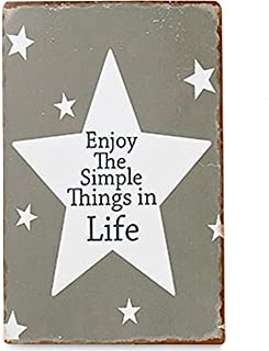WHW Whole House Worlds Enjoy The Simple Things in Life Word Art Sign, Vintage Style, Star Decorations, Rustic Gray and White,15 ¾ Inches