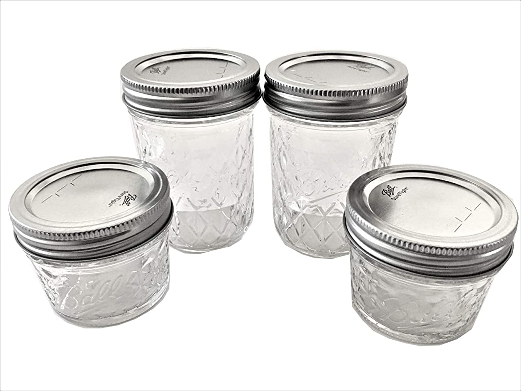 Ball Mason Jelly Jars Two 8 Oz Two 4 Oz Quilted Crystal Style Set Of 4