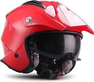 "SOXON® SR 400 Mono ""Red"" · Jet Helm · Motorrad Helm Roller Helm Scooter Helm Moped Mofa Helm Chopper Retro Vespa Vintage Pilot · ECE 22.05 Sonnenvisier Schnellverschluss Tasche L (59 60cm)"