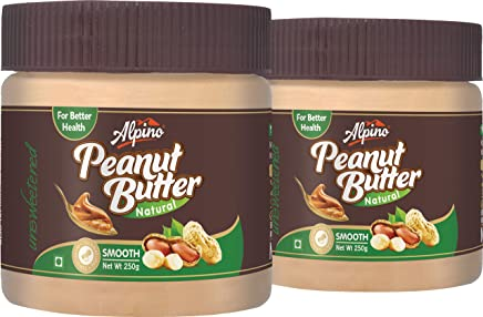 Alpino Unsweetened Natural Peanut Butter Smooth, 250g (Pack of 2)