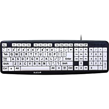 For Visually Impaired New and Improved EZSee by DC Large Print English QWERTY Keyboard Wired USB Connection Weak Vision in Low Lighted Areas Vivid White Letters on Black BackGround Keys