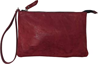 CG - Talento Fiorentino, borsa con manigliotto, borsetta, pochette in vera pelle effetto stropicciato vintage col. Rosso s...