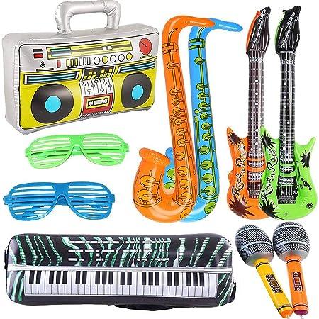 Yojoloin 10 UNIDS Jumbo Inflables Guitarra Saxofón Micrófono Boom Box Instrumentos Musicales Accesorios para Fiesta Suministros Favores de Fiesta Globos Random Color (10 PCS)